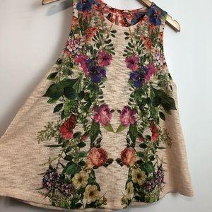 Ginger G soft floral sleeveless top A-line Sz L